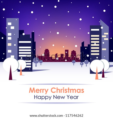 New Year's card on blue background with snow, trees and skyscrapers. Vector version.