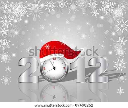 New Year's card. Silver figure 2012 with clock in cap. 10 EPS. Vector illustration.