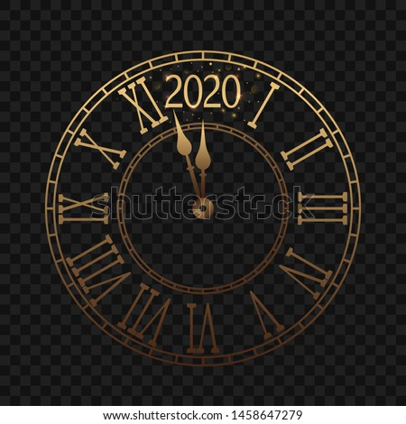 New Year's clock with a Roman dial a few minutes until midnight 2020. Merry Christmas greeting card on a transparent black background with shine and brilliance. vector illustration