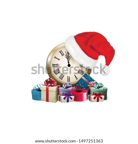 New Year's Eve. watches with a hat and gifts show New Year's Eve. - Vector