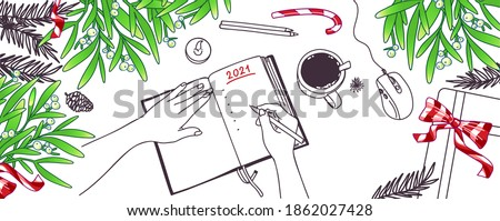 New Year's goals and resolutions concept background. Flay lay with Christmas symbols. Top view table workspace decorated with gift box, Christmas tree branches. Vector cartoon illustration to do list.