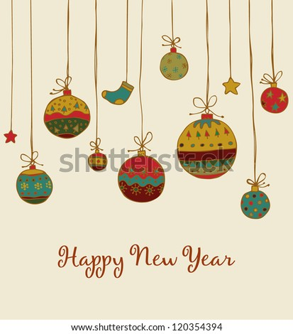 New Year's greeting with hand drawn illustration and sample text. Template for design and decoration