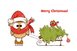 New Year's greetings card for children with two funny owls, who carry christmas tree on a sled, vector illustration on a white background. One card from the series