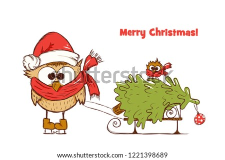 new years greetings card for children with two funny owls who carry christmas tree on