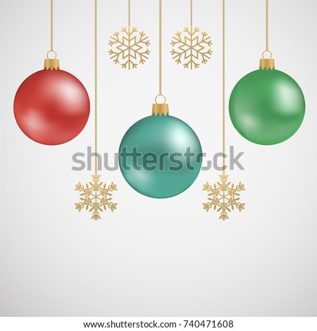 New Year's hanging balls and golden snowflakes. Vector illustration.