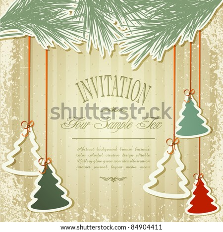 New Year's holiday background with hanging herringbone