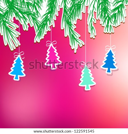 New Year's holiday background with hanging tree. + EPS8 vector file