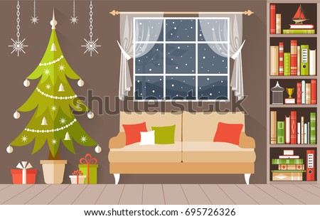 Stock Photo New Year s interior vector. A cozy room decorated for Christmas. Illustration in a flat  style.