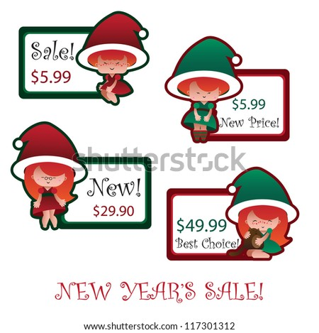 new year\'s labels with santa helpers