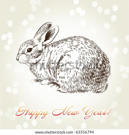New Year's rabbit hand-drawn on creamy fawny background