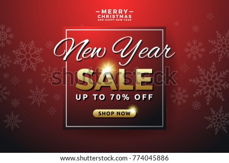 new year sale banner background template design with snowflake seasonal advertising for christmas and happy