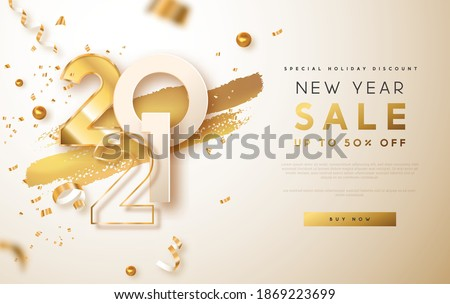 New Year sale 2021 web template illustration. Realistic 3d gold number date sign on white background with golden party confetti and copy space. Luxury business discount promotion design.