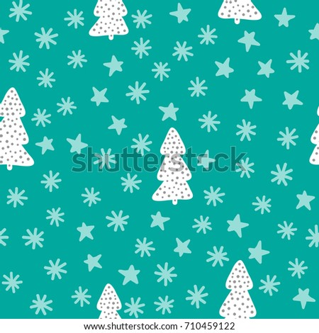 New Year seamless pattern. Christmas trees, snowflakes, stars. Sketch, doodle, drawn by hand. Vector illustration. Blue, white, grey colour.
