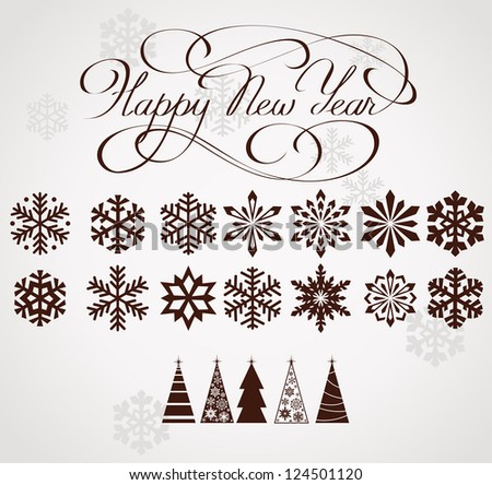 New year set - stock vector