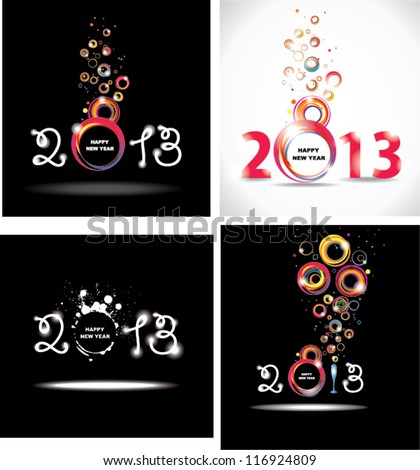 New year 2013 Set abstract posters.