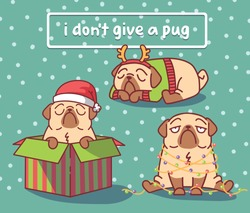 new year set with cartoon pug dog character in christmas gift box and santa claus hat and with christmas lights. vector illustration with hand drawn lettering quote - i don't give a pug