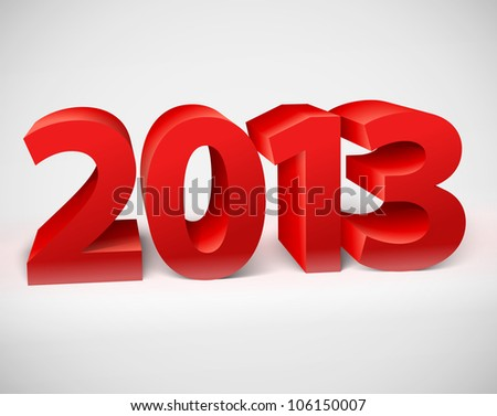 New year 2013 shiny 3d red. Vector illustration