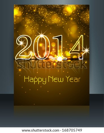 New year 2014 shiny reflection colorful template vector #168705749