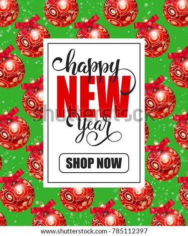 New Year Shopping Lettering with Red Balls