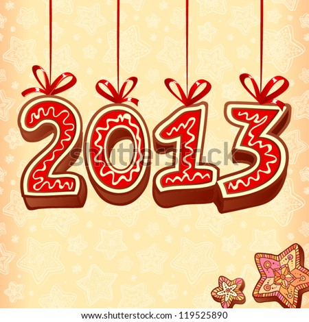 New Year sign 2013 made from hand drawn christmas sweets on creamy colors background