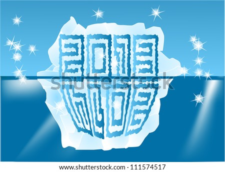 New Year sign on an iceberg 2013-2014