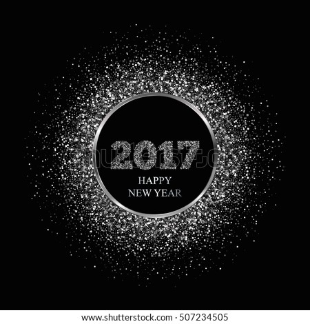 New Year 2017. Silver glitter background. Vector Illustration