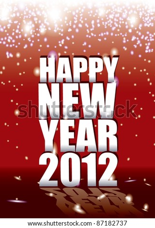 New year sparkle background with 2012 sign and reflection