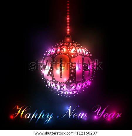 New Year 2013 Sparkling Rainbow Ornament Design (EPS10 Vector)