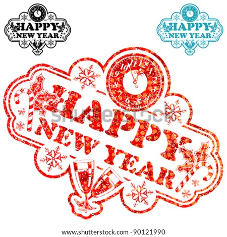 New Year Stamp with Clock and Glass isolated on white, vector illustration