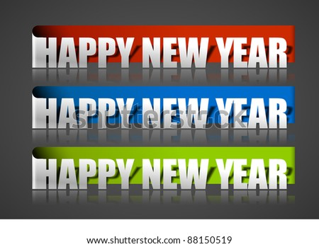 New year sticker with black background, vector illustration