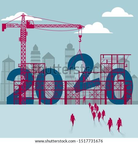 New Year symbol design. Isolated on blue background.