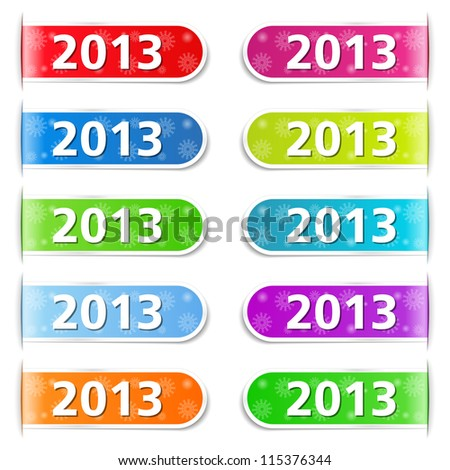 New year tabs, vector eps10 illustration