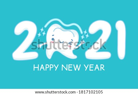 New year teeth. Happy holiday 2021 year banner with funny healthy white tooth, childrens dentistry, oral hygiene care dental vector concept. Single tooth with winking, smiling face