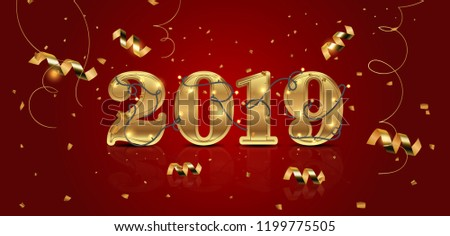 new year 2019 template holiday vector illustration party invitation design festive decoration with