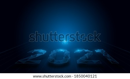 New Year 2021 text in Neon light with triangles technology Hi-tech futuristic digital background. Vector illustration