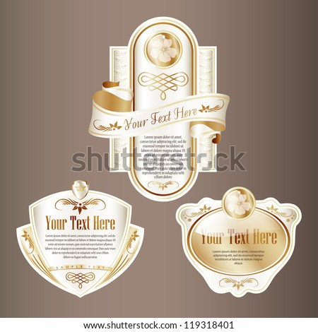 New Year Theme. Set of White and Gold ornate label. Grouped for easy editing. Perfect for labels or stickers for wine, beer, champagne, cognac, cologne and etc.