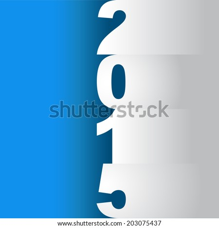 new year 2015 tittle paper cuts on a blue background illustration