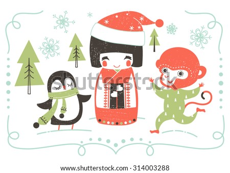 New Year vector illustration with cartoon Japanese Kokeshi Doll, penguin and monkey.