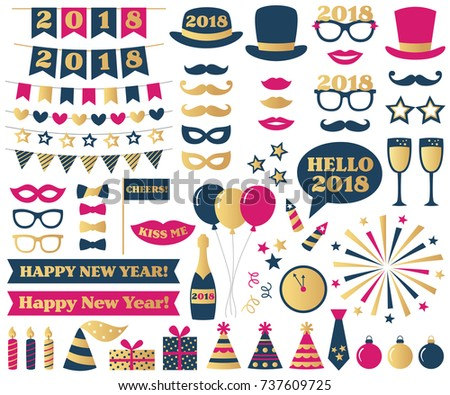 new year vector photo booth props and design elements set