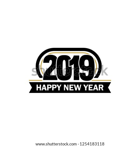 New Year vector unusual label. 2019 year symbol. Business abstract logo on white background.