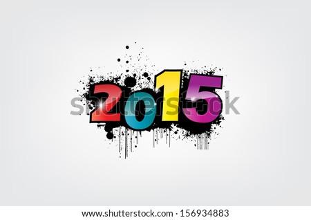 New year 2015 wallpaper, grunge effect. (EPS10 Vector) #156934883
