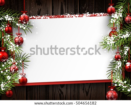 New Year wooden background with red Christmas balls. Vector illustration.