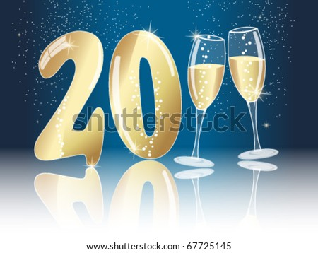 New years eve concept for 2011 with champagne glasses on dark blue sky background