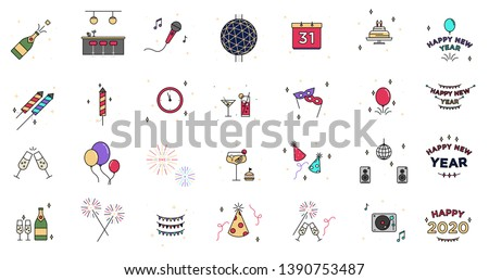 New Years Eve 2020 Icon Set