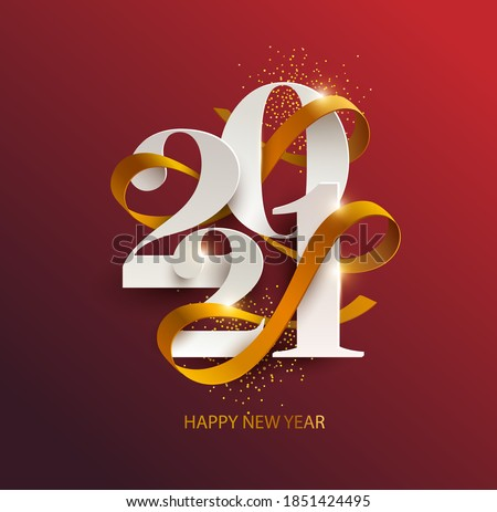 New Years 2021. Greeting card with date and ribbon on red background