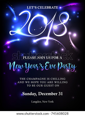 New Years 2018 invitation with back light and text. Possible to create holiday cards or banner.