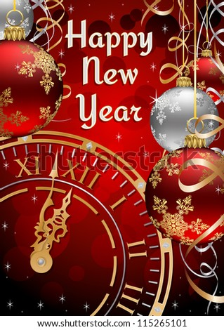 New Years Postcard with Clock face, Ribbons and Baubles