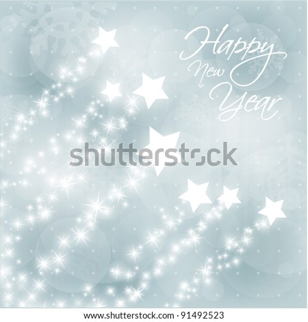 New Years Vector Background with Stylized Falling Stars