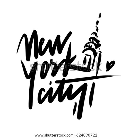New york. Black and white lettering.  Creative typography. Hand drawn greeting card with text NY City and skyscraper. Tourism and travel.