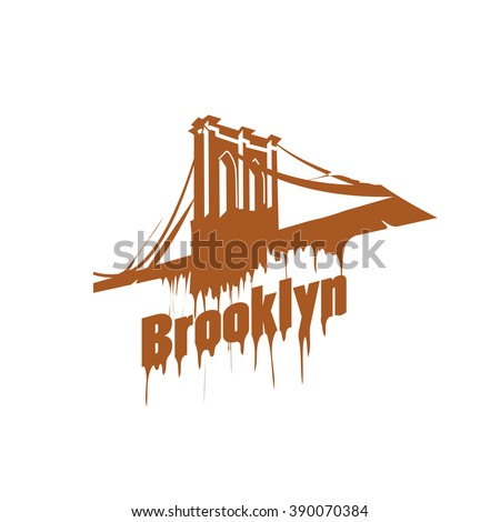 New York  Brooklyn Bridge Design emblem. Graffiti style